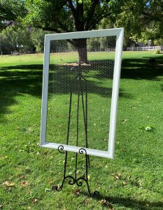 White Frame with Wire Center for Rent