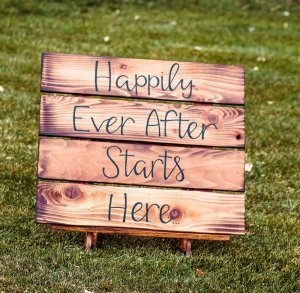 Rustic Happily Sign Rental $30